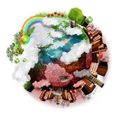 清洁的空气和污染的地球组合 — 图库照片