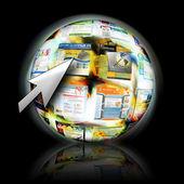 Internet-website-suche mit pfeil-cursor — Stockfoto