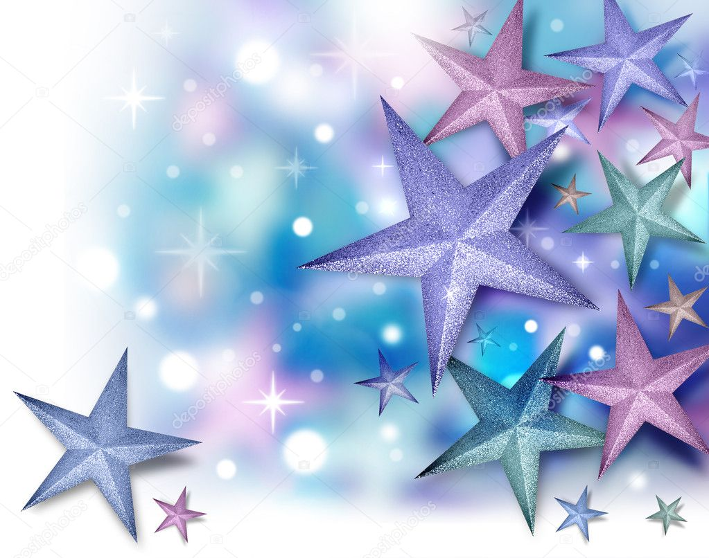 A purple, blue and pink glitter star background with glowing twinkles. There is a fade to white on the left and bottom — Stock Photo #10220477