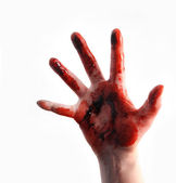 Red Bloody Scary Hand Reaching on White — Stock Photo