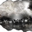 Stock Photo: Black and White Grunge City Texture