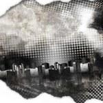 Black and White Grunge City Texture — Stock Photo