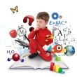 Stock Photo: Young Science Education Boy on Book Thinking