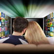 Royalty-Free Stock Photo: Watching Television Movie Screen
