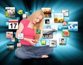 Woman Using Smart Phone with Apps — Stock Photo