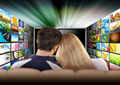 Watching Television Movie Screen — Stock Photo