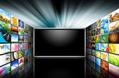 Flat Screen Television with Images — Stock Photo