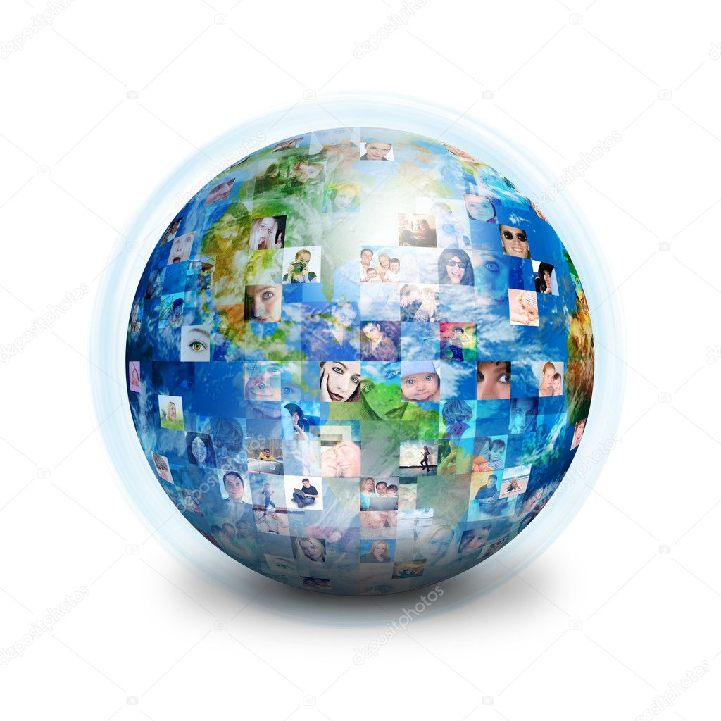A globe is isolated on a white background with many different 's faces. Can represent a technology social network of friends and communication. — Stock Photo #10628246
