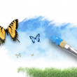 Nature Artist Painting Cloud Sky with Butterfly - Stock Photo