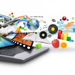 Multi MediInternet Laptop with Objects — Stock Photo #8961904