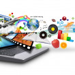 Multi Media Internet Laptop with Objects - Stock Photo