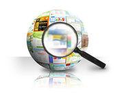 Internet hemsida sök 3d boll — Stockfoto