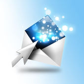Email Letter With Sparkles and Arrow — Stock Photo