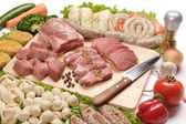 Meat, meat semifinished products on the isolated background — Stock Photo