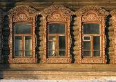 Windows vecchio russo a tomsk — Foto Stock