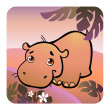 Stock Vector: Friendly hippo in savanna