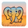 Stock Vector: Friendly elefant in savanna