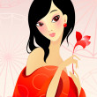 Girl in red with flower — Stock Vector