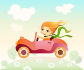 Girl driving car — Stock Vector