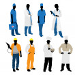 Mens professions silhouettes — Stock Vector