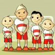 Four soccer player — Vector de stock #10485995
