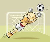 Goalkeeper catching the ball — Stock Vector