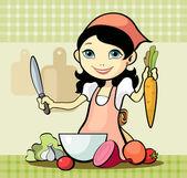 Girl prepares a meal — Stock Vector