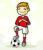 Soccer player with ball — Vector de stock