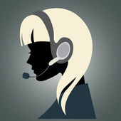 Girl with headset — Stock Vector