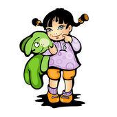 Dziewczyna z bunny zielony — Wektor stockowy