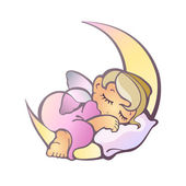 Newborn girl sleeping — Stock Vector