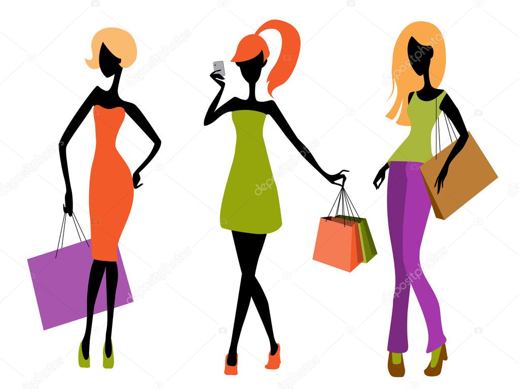 Vector illustration of a three young girls shopping — Stock Vector #9446736