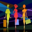 Royalty-Free Stock Vector Image: Three girl silhouette with bags