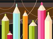 Siete lápices de colores — Vector de stock