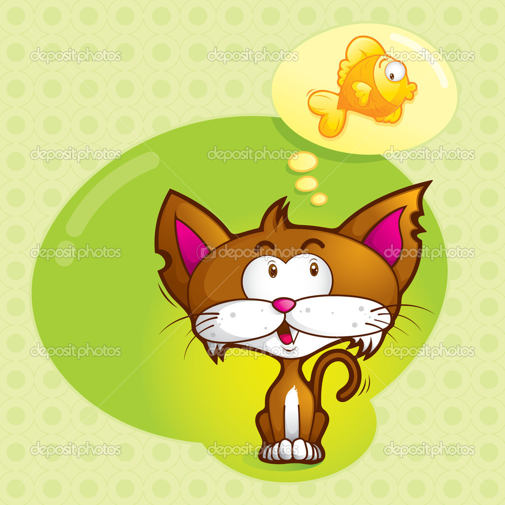 A cute cat was imagining his favorite goldfish — Stock Vector #8916487