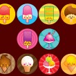 Cute Ice cream buttons — Imagen vectorial