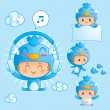 Royalty-Free Stock Vector Image: Character set of a boy in blue bird costume