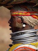 Profile of a young woman of Bonda tribes, with necklaces and ear — Stockfoto