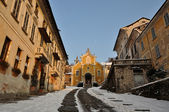 The amazing church of Orta St. Julian after a snowfall — Stock Photo