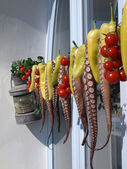 Polyps and peppers hung out to dry on a Greek island — Stock Photo