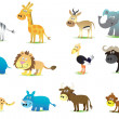 Set of African Animals icon — Stock Vector
