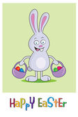 Easter bunny with a wicker — Stock Vector