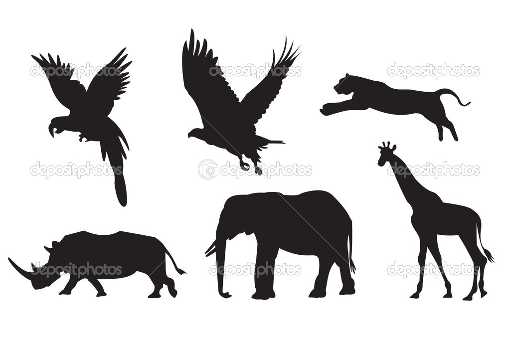African animals silhouette - stock illustration