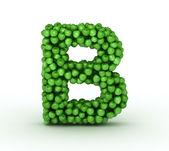 Letter B, alphabet of green apples — Stock Photo