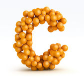 Letter C, font of orange citrus, white background — Stock Photo
