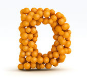 Letter D, font of orange citrus, white background — Stock Photo