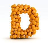 Letter D, font of orange citrus, white background — Stock Photo