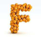 Letter F, font of orange citrus, white background — Stock Photo