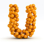 Letter U, font of orange citrus, white background — Stock Photo