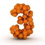 Number 3, basketball alphabet — Stock Photo #10683386